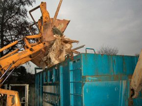 Demolition of a classroom at North Petherton.